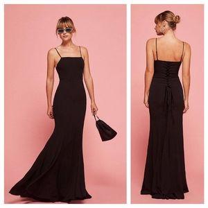 reformation • dahlia black lace up long maxi dress